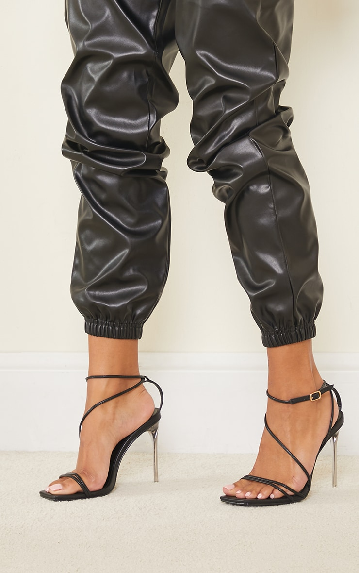 Black PU Barely There Strappy Asymmetric High Heels 2