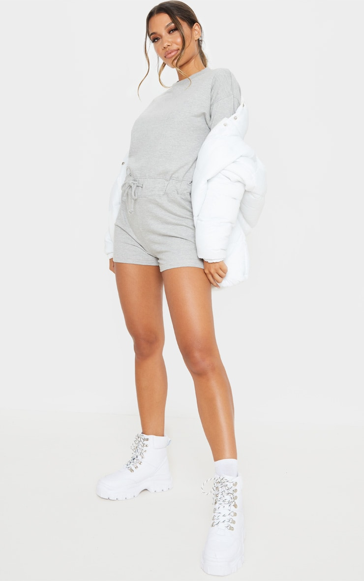 Grey Sweat Long Sleeve Contrast Stitch Playsuit 1