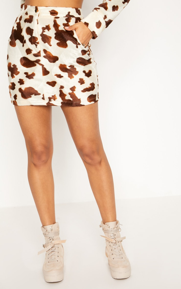 Cream Cow Print Button Front Skirt 2