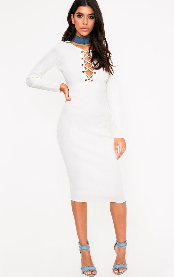 Cateleya White Eyelet Bodycon Midi Dress 1