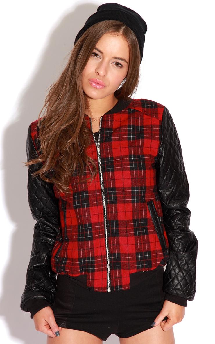 Allana Tartan Print Bomber Jacket With Leather Padded Sleev 1