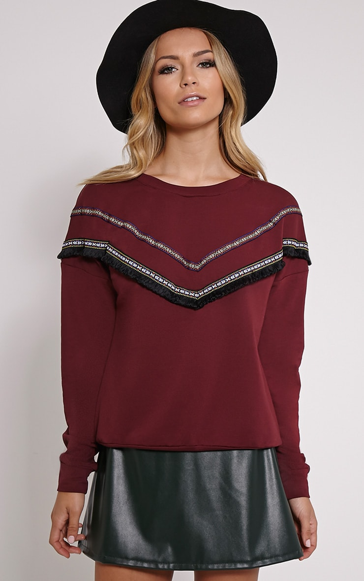 Kaysha Burgundy Tribal Fringe Jumper 1