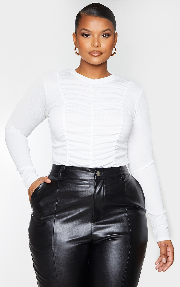 Plus White Rib Ruched High Neck Long Sleeve Top 1