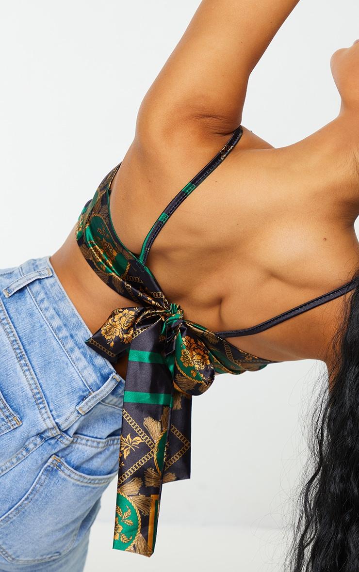 Green Printed Cowl Neck Tie Back Crop Top 4