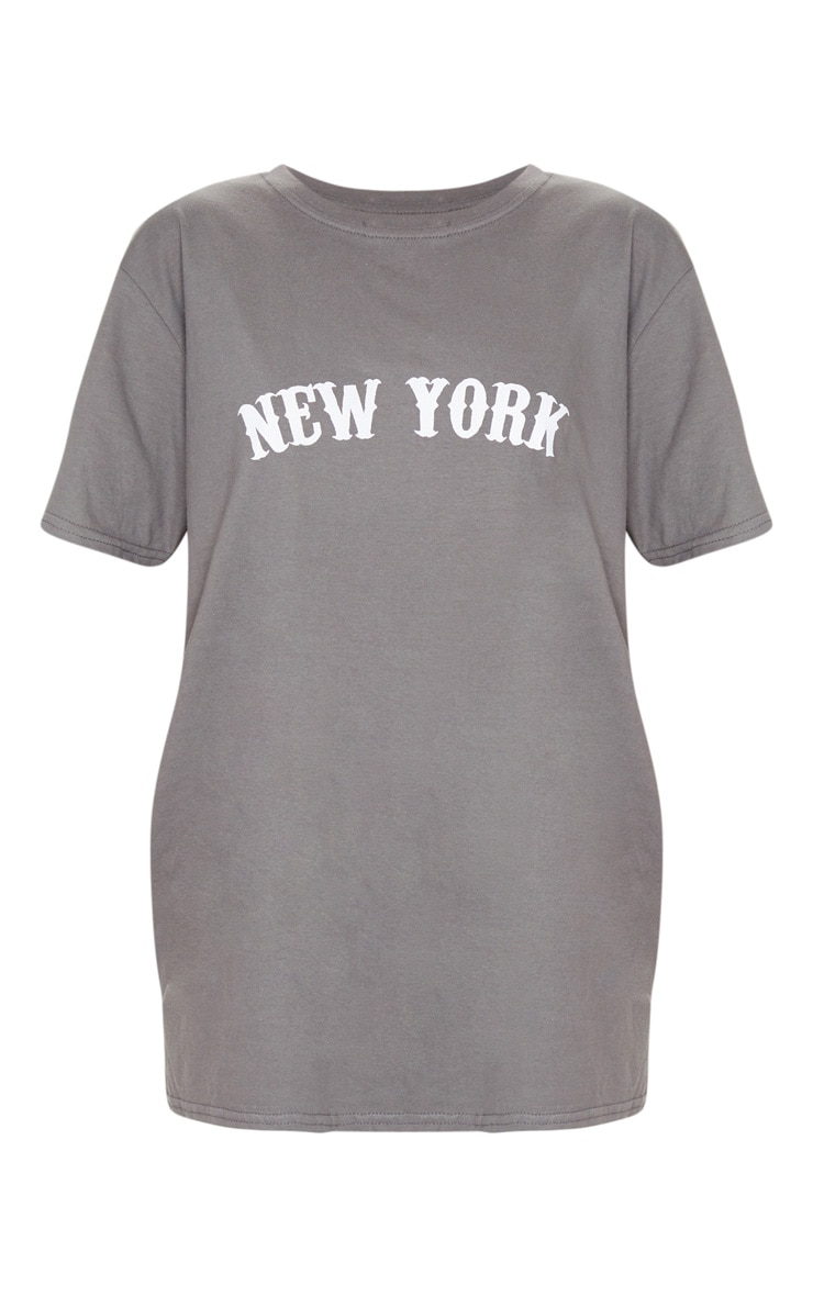 Charcoal Grey New York Printed T Shirt 5