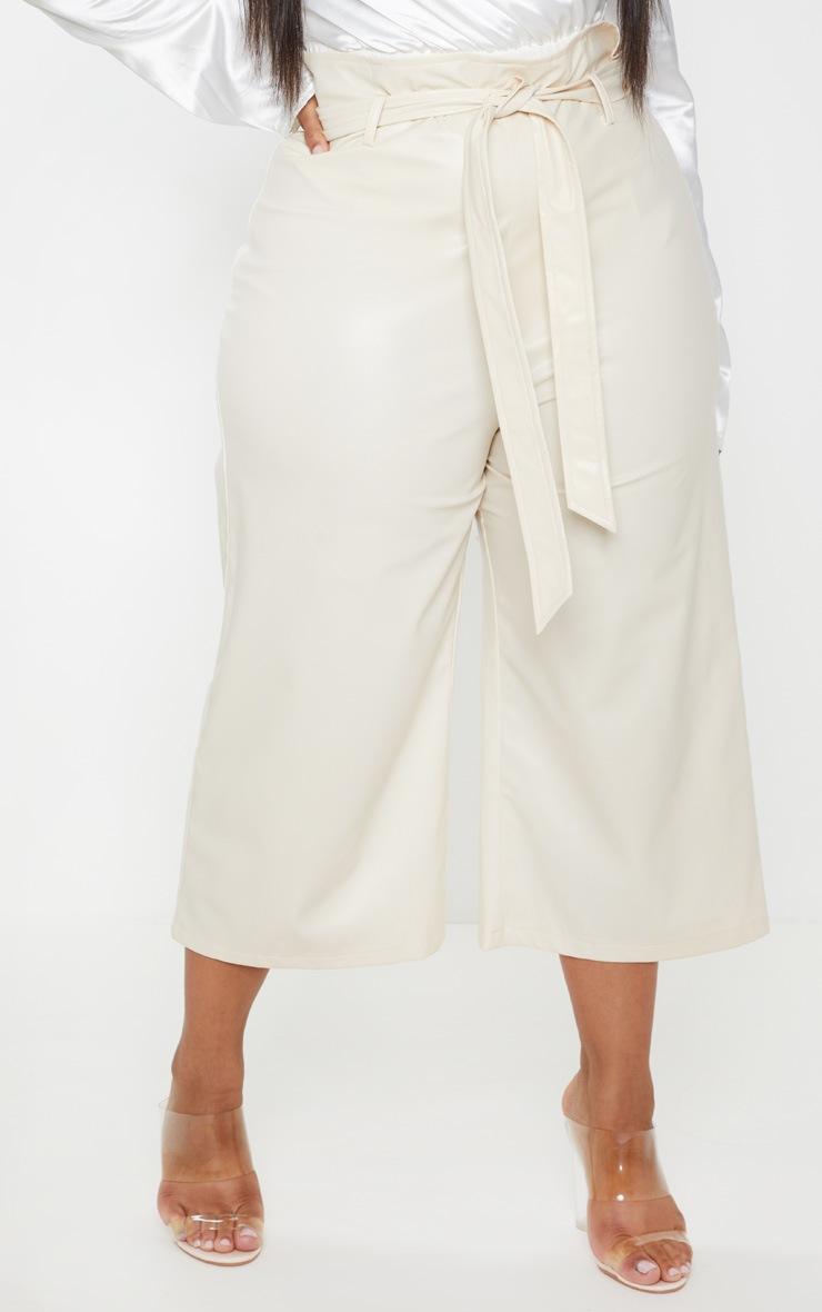 Plus Cream Faux Leather Belt Detail Culotte  2