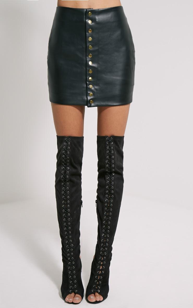Elara Black Faux Leather Gold Popper Mini Skirt 2