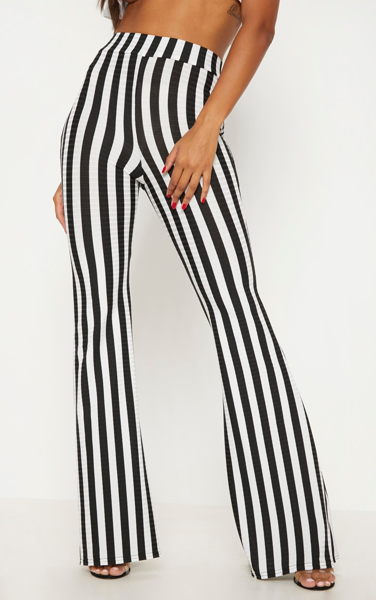 Black Rib Stripe Flare Trouser 2
