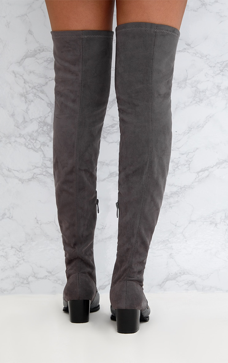 Grey Studded Contrast PU Over The Knee Boots 3