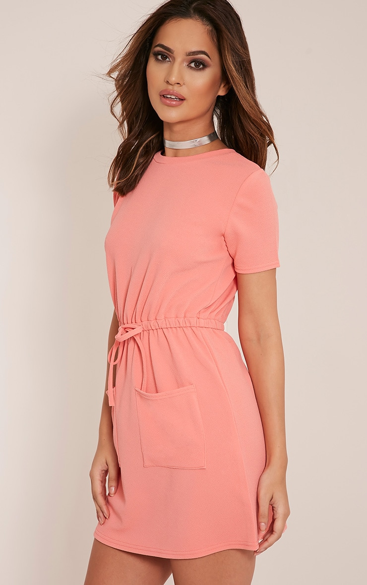 Erin Coral Tie Waist T Shirt Dress 4