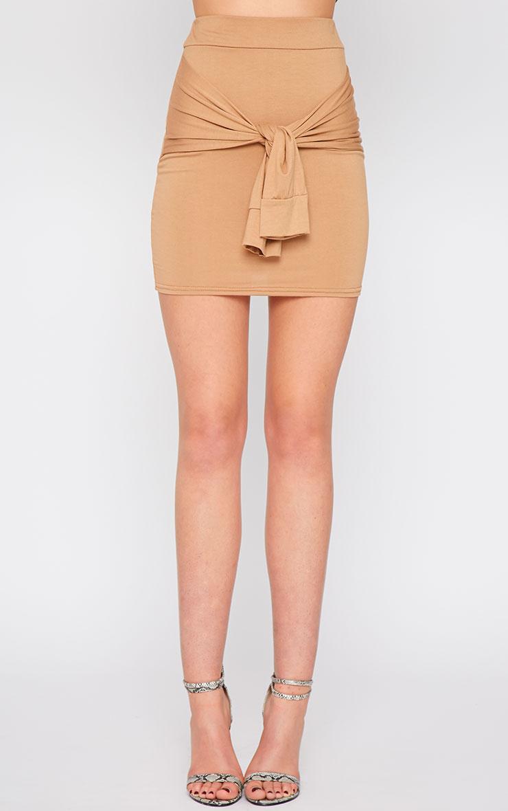 Hanneli Camel Tie Front Mini Skirt 2