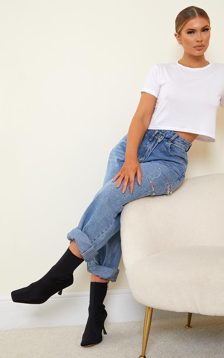 Black Lycra Square Toe Mid Heel Sock Boots 1