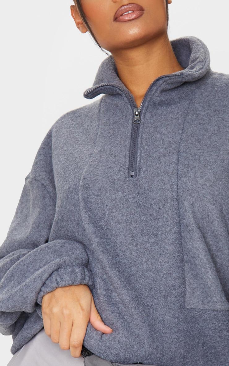 Charcoal Grey Fleece Zip Front Oversized Sweater 4