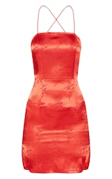e318598b3a Red Satin Oriental Lace Up Back Bodycon Dress image 3