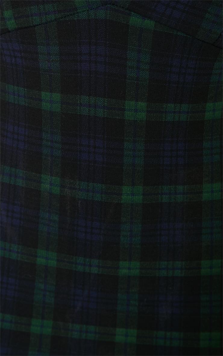 Savina Green Tartan Plunge Mini Dress 4