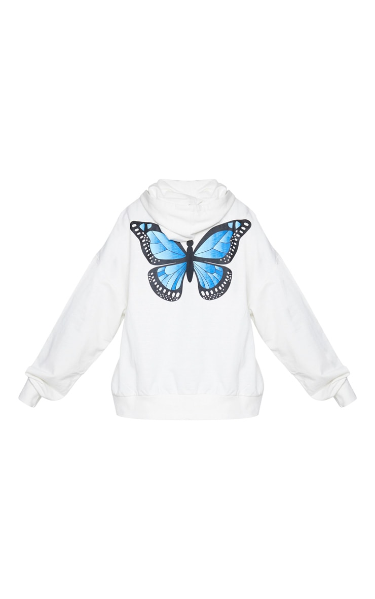 White Butterfly Oversized Hooded Jacket 6