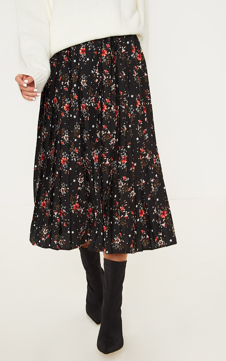 Black Floral Print Pleated Midi Skirt  2