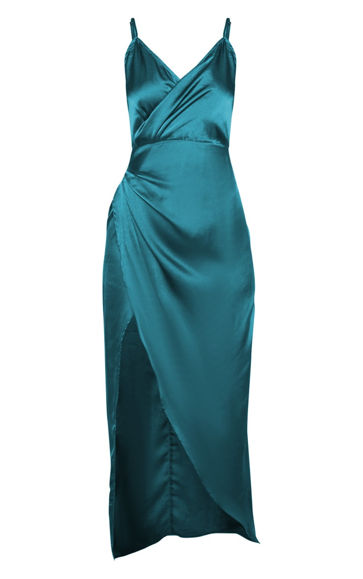 Petite Jasper Green Satin Wrap Detail Maxi Dress  3