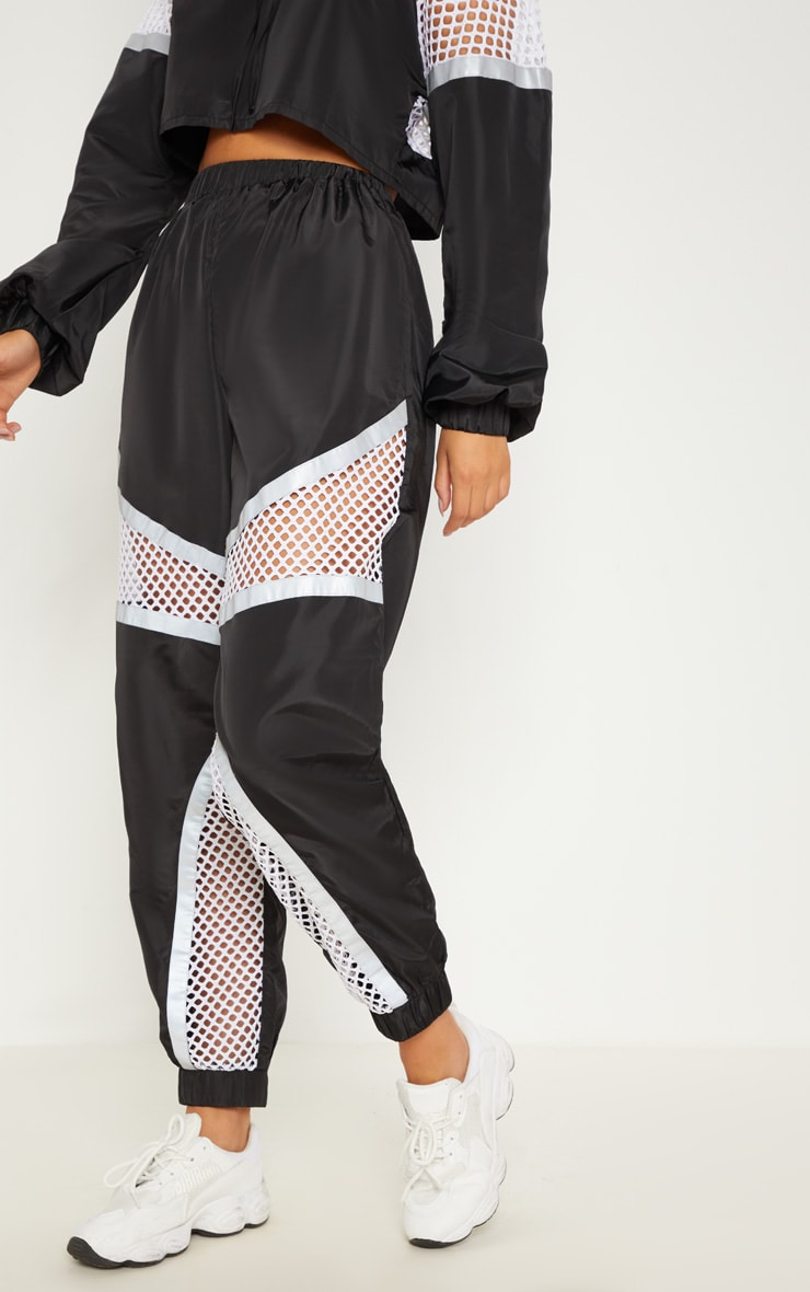 Monochrome Shell Fishnet Panel Joggers 3