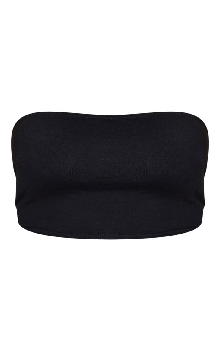 Plus Black Cotton Bandeau Cropped Top 5