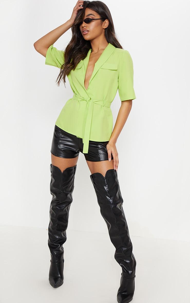 Neon Lime Short Sleeve Utility Shirt