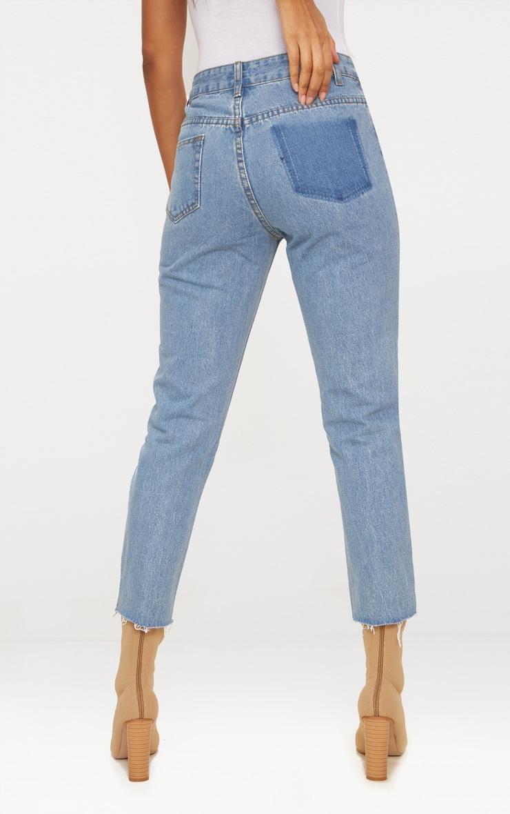 Light Wash Patch Pocket Open Rip Straight Leg Jean 4