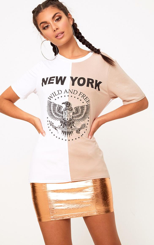 White Wild & Free Spliced Slogan T Shirt 1