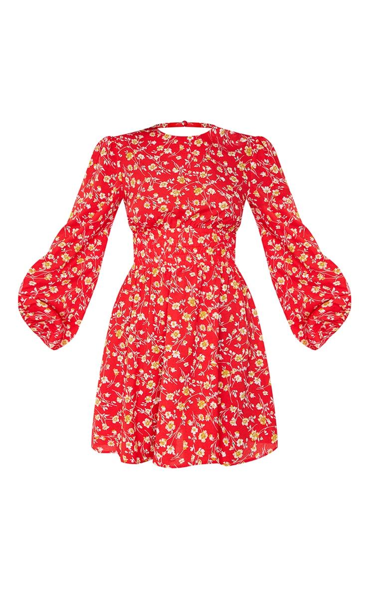 Red Floral Print Shirred Waist Backless Shift Dress 5