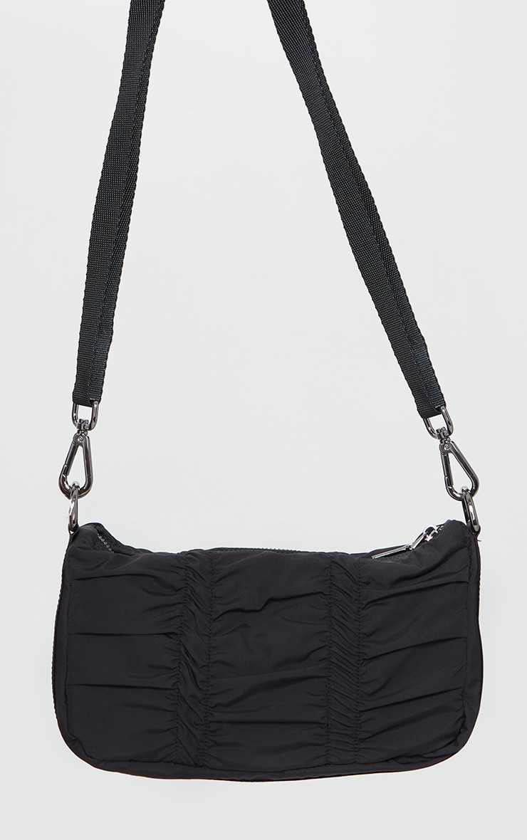 Black Ruched Nylon Cross Body 1