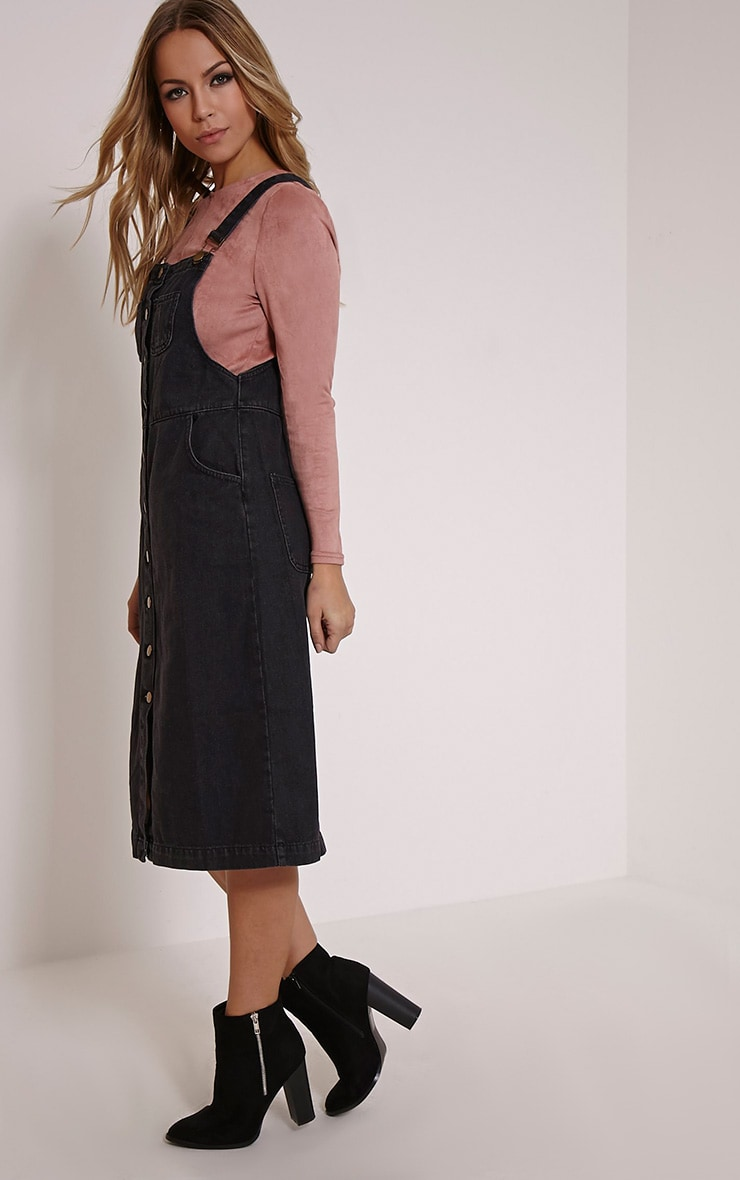 Dolly Black Denim Button Front Pinafore Dress 3