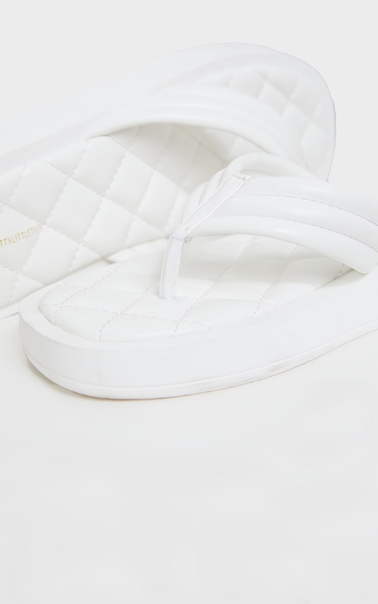 White Chunky Sandal Quilted Toe Post Flip Flops 4