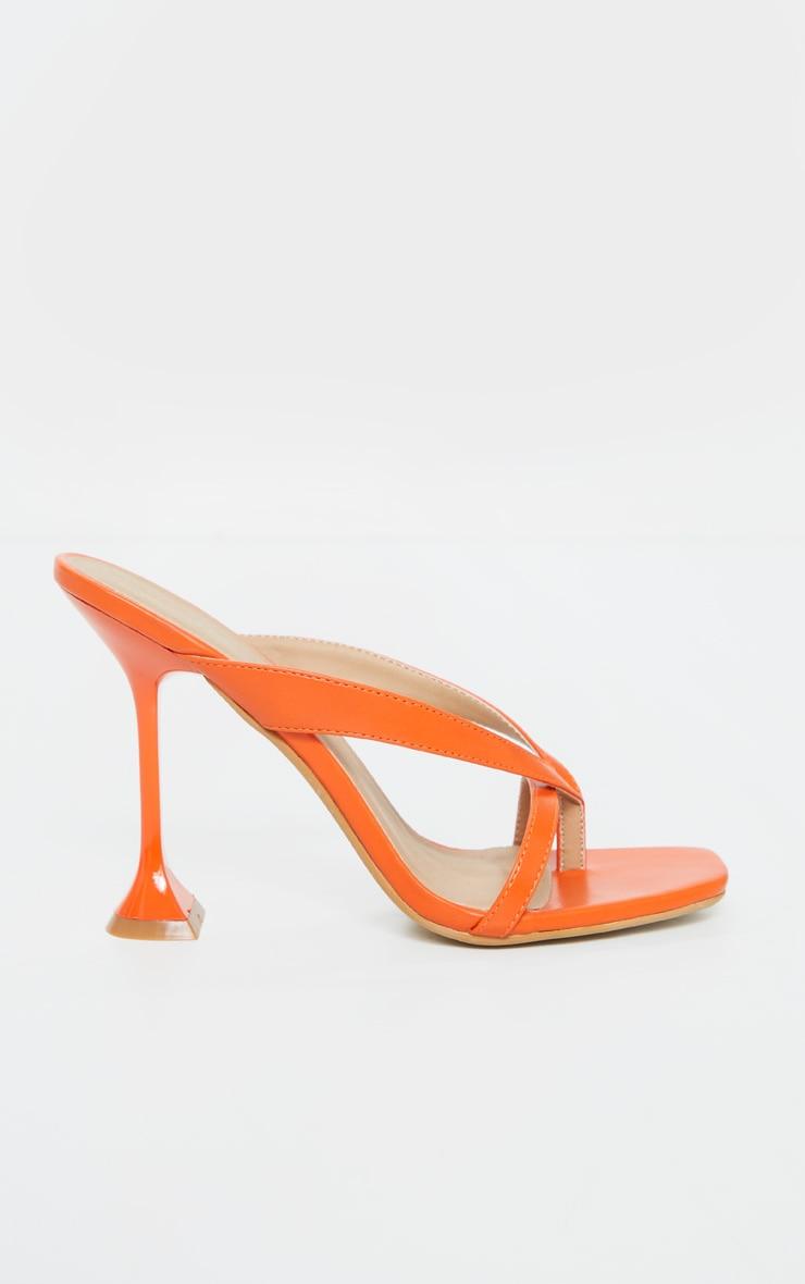 Orange Cake Stand High Heel Toe Thong Strap Mule Heels 5