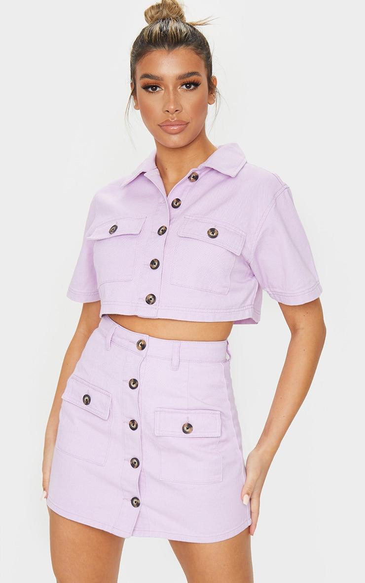 Lilac Button Up Pocket Detail Denim Mini Skirt 1