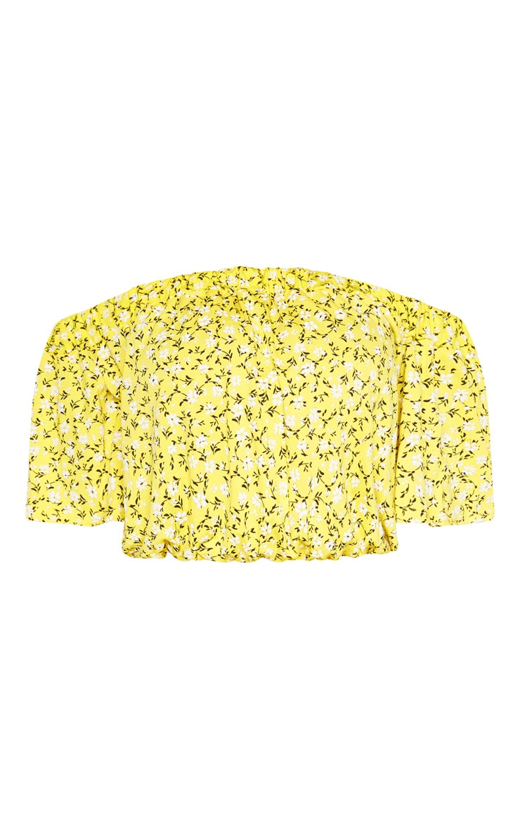 Tall Yellow Ditsy Floral Bardot Print Flare Sleeve Crop Top 3