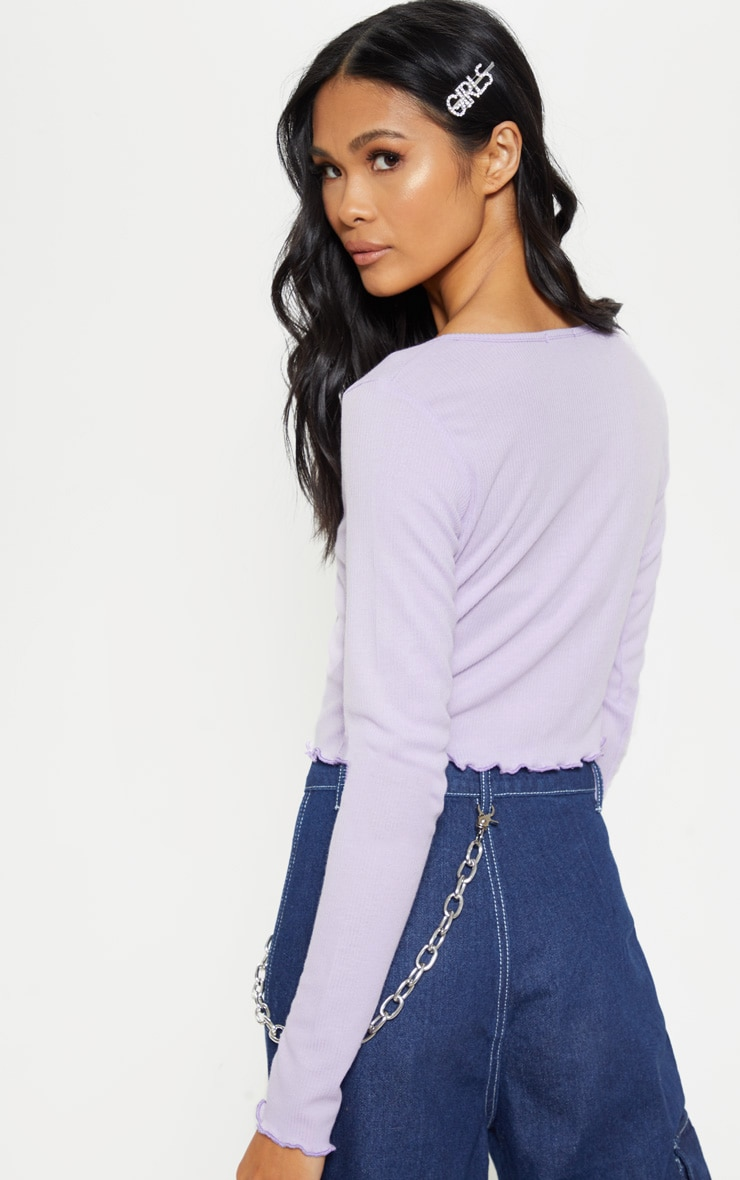 Lilac Rib Button Front Long Sleeve Crop Top 2