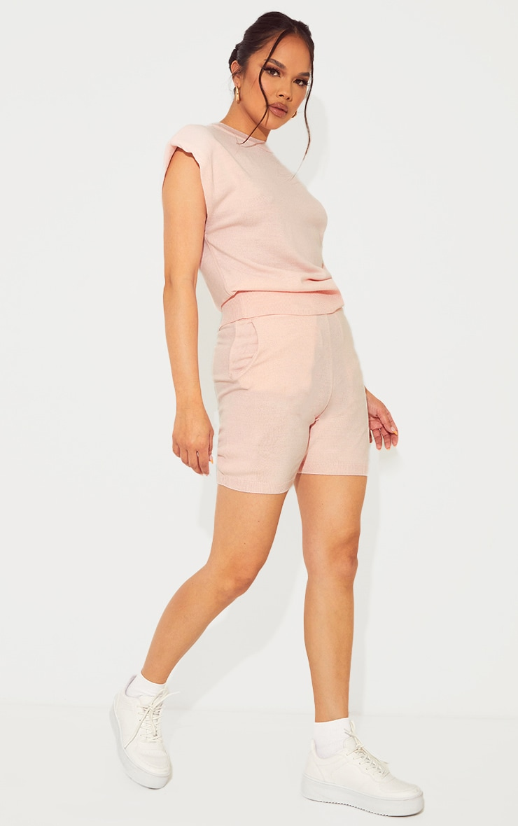 Baby Pink Soft Knitted Pocket Detail Cycling Shorts 1