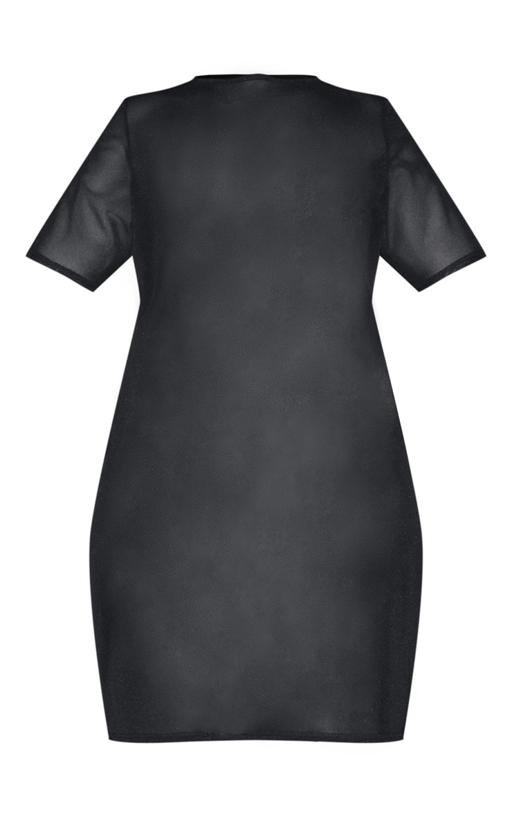 Plus Black Mesh T Shirt Dress 3