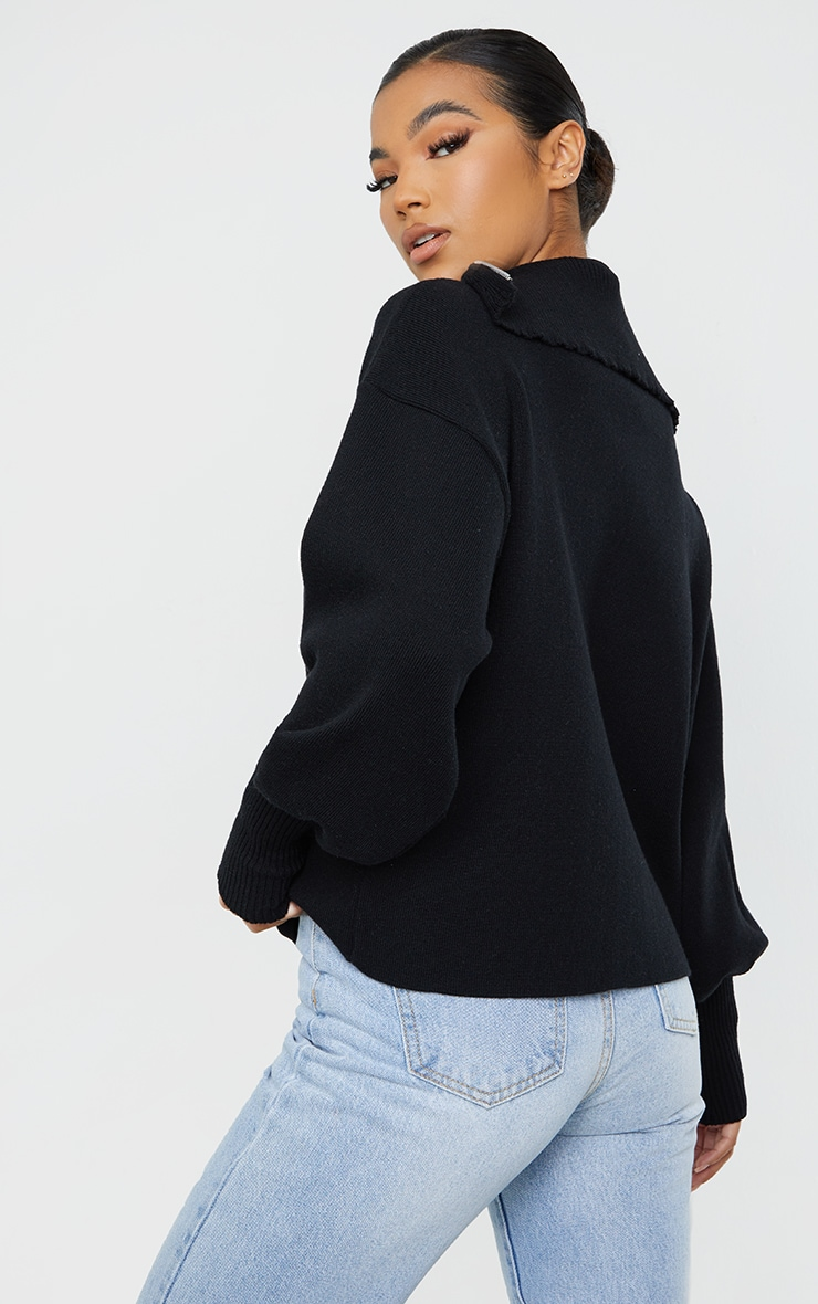 Black Zip Up Slouchy Knitted Balloon Sleeve Sweater 2