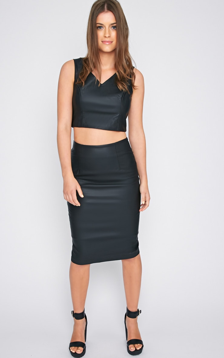 Shary Black Leather Crop  3