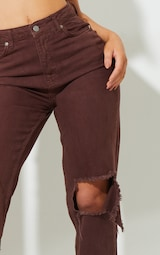 Recycled Chocolate Ripped Long Leg Straight Jeans 4
