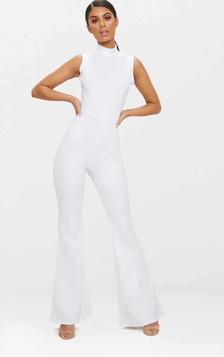 White High Neck Seam Detail Jumpsuit