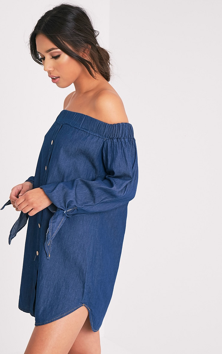 Shey Dark Blue Wash Chambray Bardot Swing Dress 4
