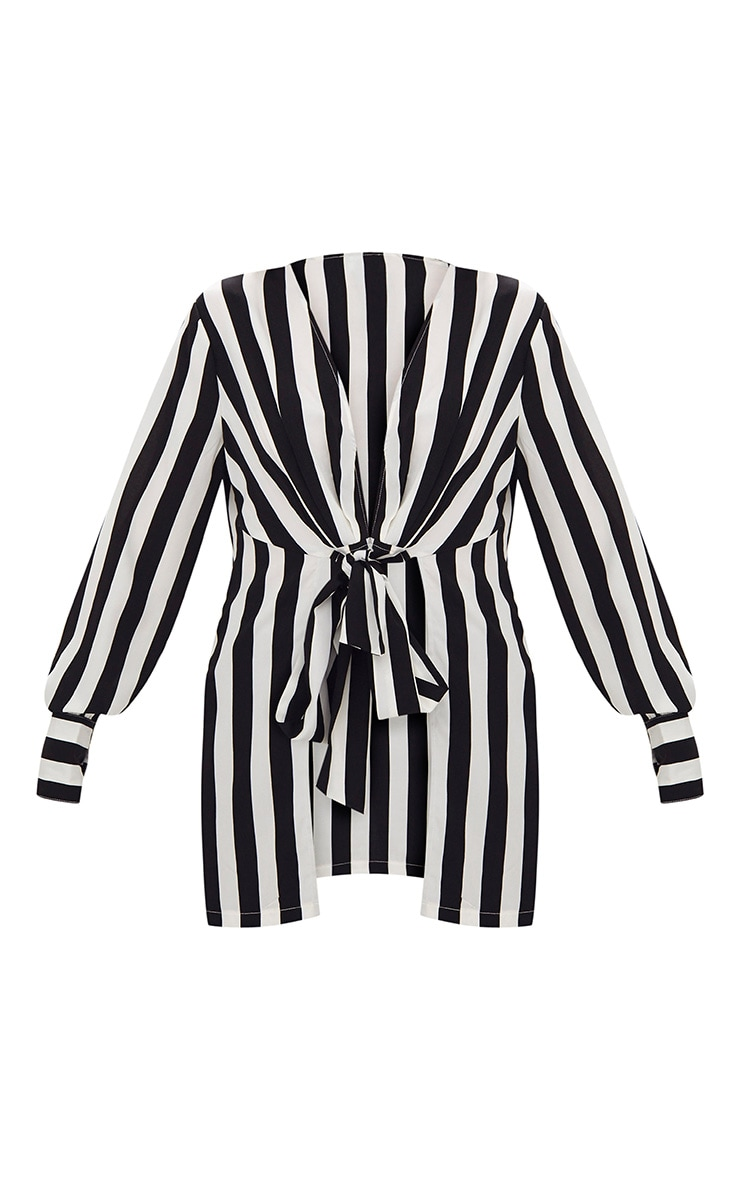 Monochrome Stripe Tie Front Long Blouse 3