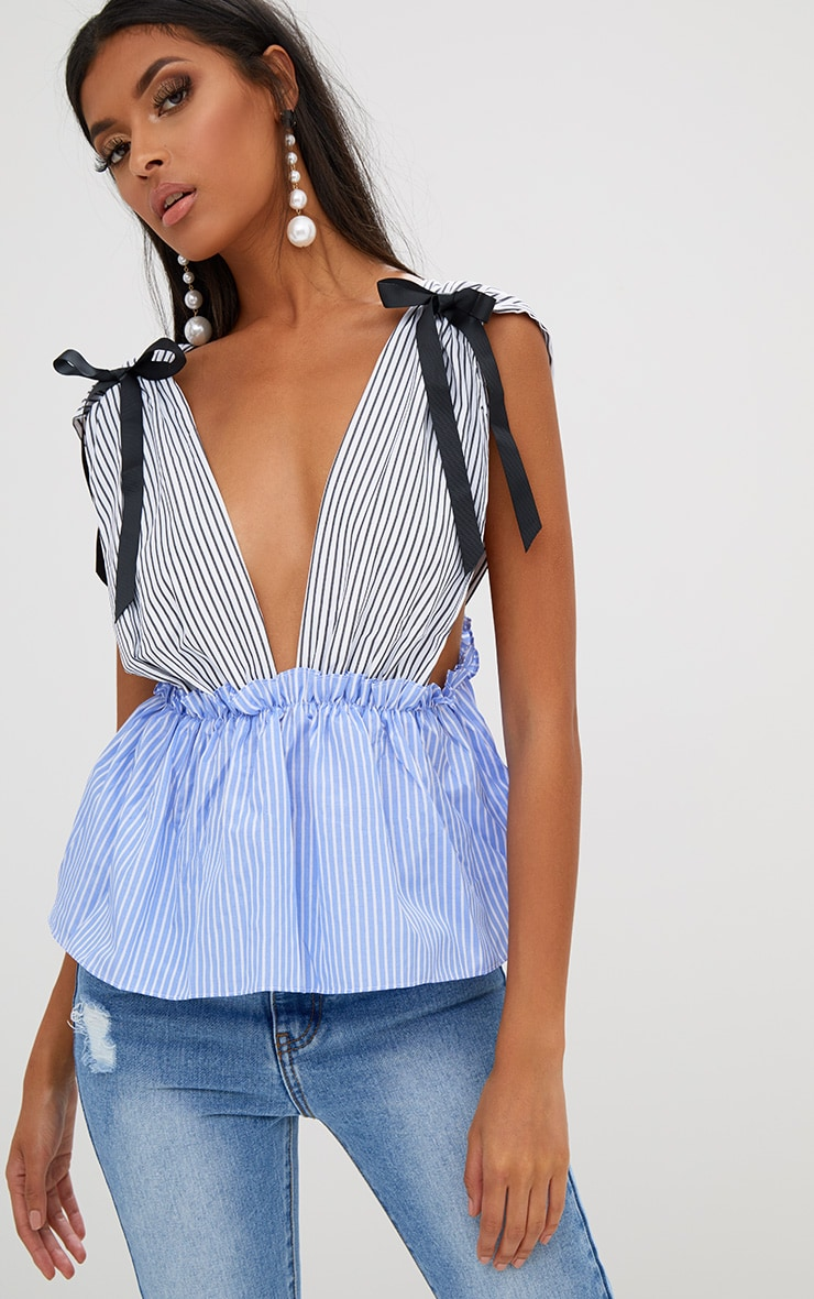 White Contrast Stripe Tie Shoulder Frill Plunge Top 1
