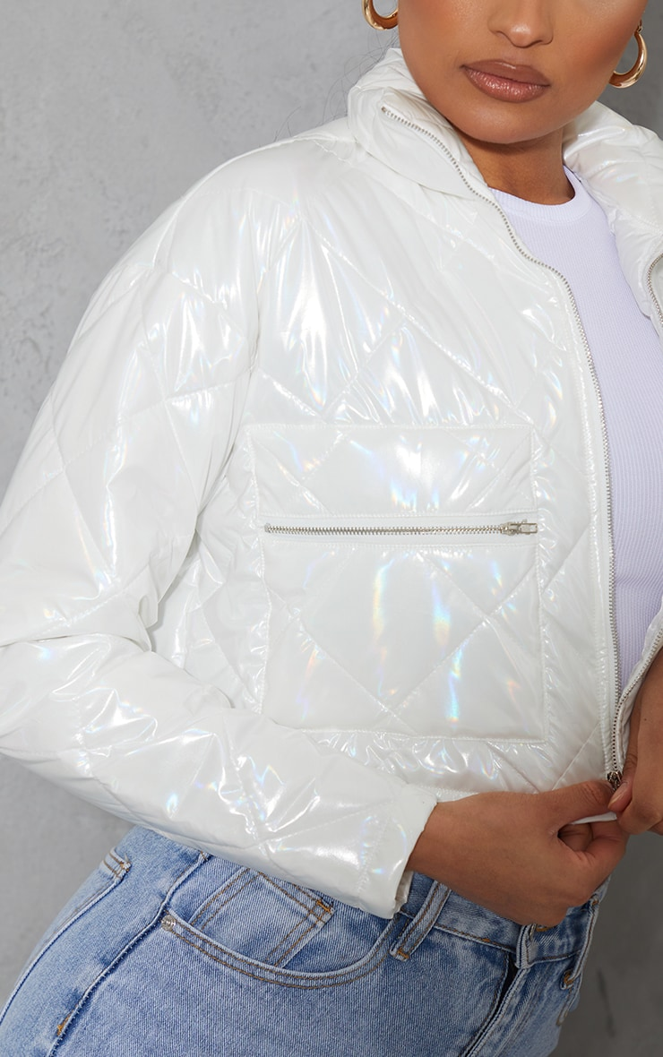White High Shine Quilted Zip Pocket Cropped Jacket 4