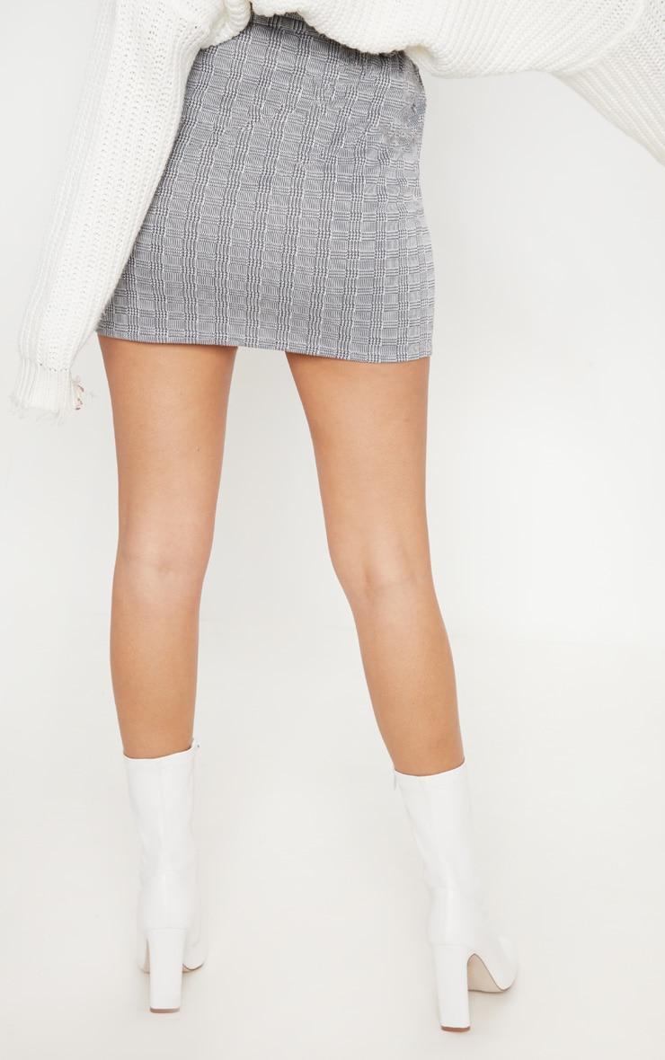 Grey Check Button Front Tie Waist Mini Skirt 4