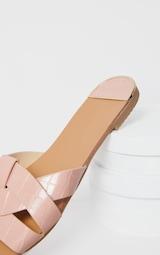 Pink Croc PU Strap Over Flat Sandals 4
