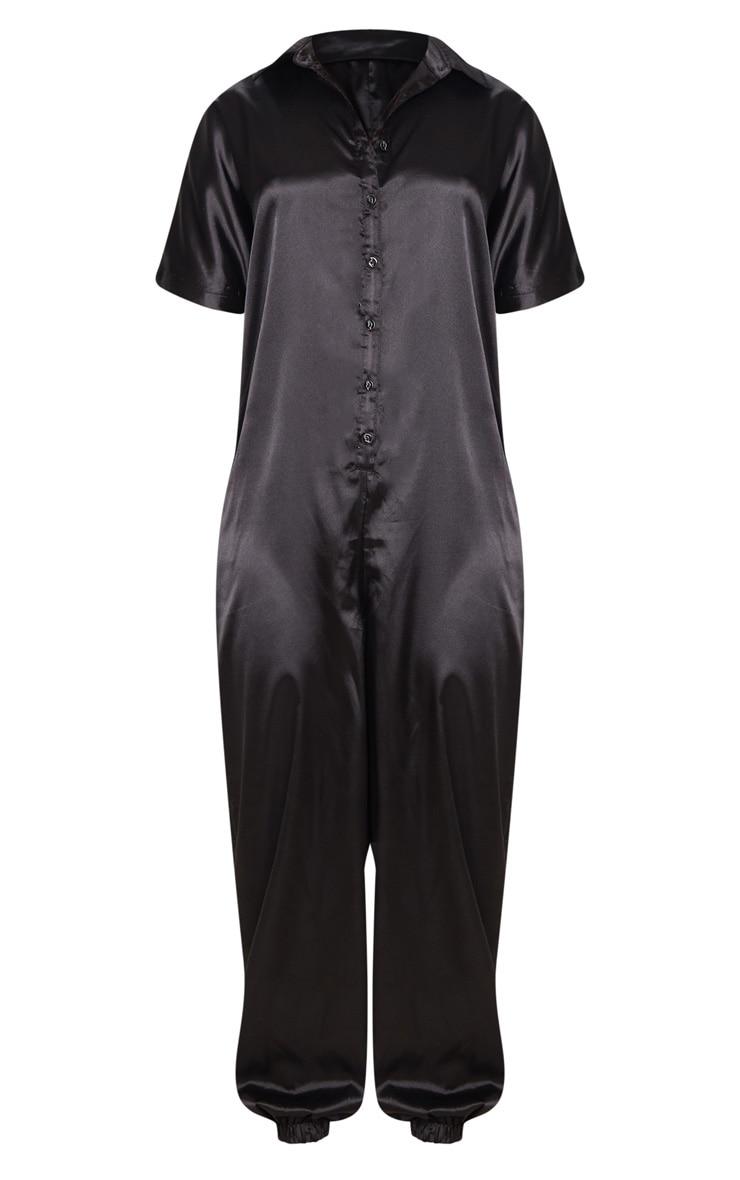 Black Bonded Satin Oversized Shirt Jumpsuit 3