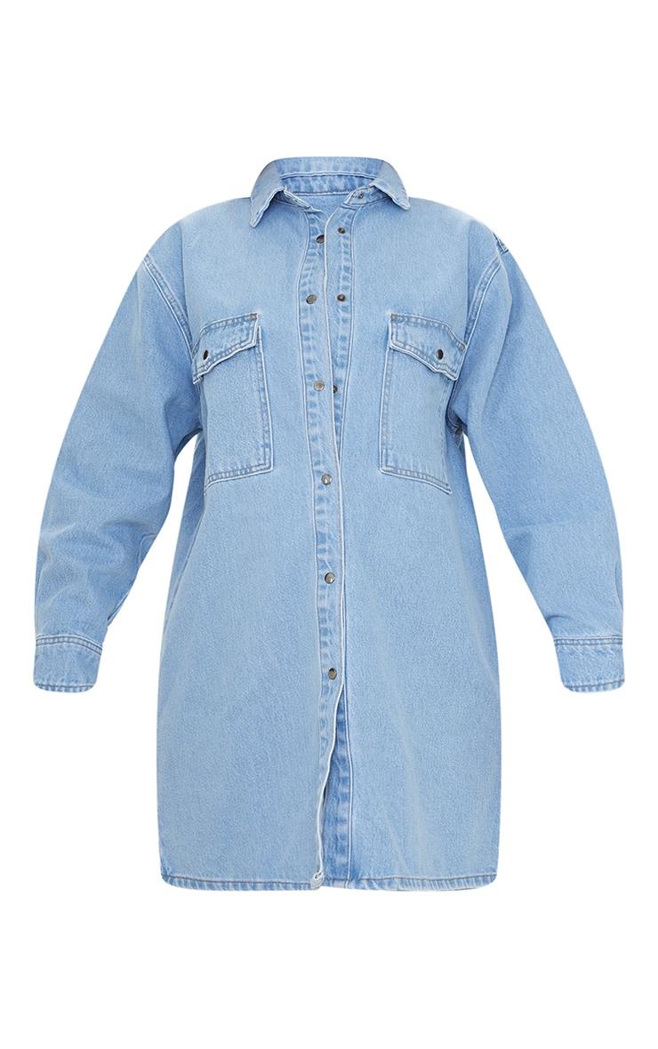 Maternity Blue Oversized Denim Shirt 5