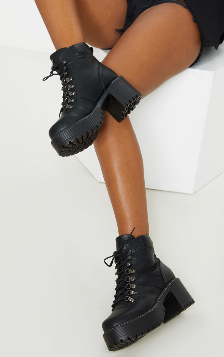 Black Cleated Platform Chunky Hiker Lace Up Ankle Boot 3